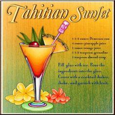 tahitian drink print. www.thetilemuralstore.com