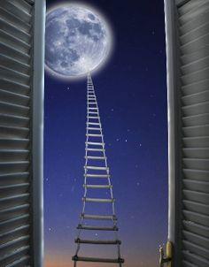 """""""Escalera hacia la luna en la ventana de un sueño.."""" Alejandro Mos Riera"""