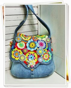 """Colorful rainbow"" Blue Jean bag with crochet motifs...so pretty!"