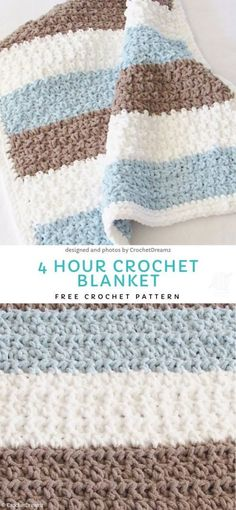 4 Hour Crochet Blanket Free Crochet Pattern Easy Blankets For Beginners.This pastel, delicate blankie will look lovely in children nursery or in a living room. It is light and yet very warm and soft. Easy and fun to make. Striped Crochet Blanket, Crochet Baby Blanket Free Pattern, Crochet For Beginners Blanket, Easy Crochet Patterns, Beginner Crochet Blankets, Simple Crochet Blanket, Crochet Ideas, Free Crochet Patterns For Beginners, Patchwork Blanket