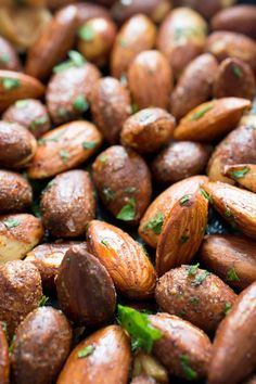 5 Minute Spicy Chili Almonds. A super easy to make snack! Tossed with fresh cilantro and spices. | chefsavvy.com #recipe #healthy #snack #almonds