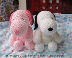 Sayjai amigurumi crochet patterns ~ K and J Dolls / K and J Publishing: Pink Snoopy
