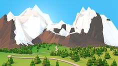 General 1920x1080 artwork mountain forest snow low poly
