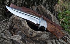 "Broadwell Studios | Koa Subhilt. 9"" CPM 154 blade. Hollow ground, harpoon clip, hand ground fuller. NS collar. Ealy damascus fittings. Koa handle. Sheath by NB Designs, python inlay."