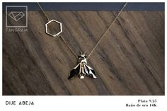 TANGRAM JEWELRY Bee pendant gold platted Gold Pendant, Arrow Necklace, Bee, Silver, Jewelry, Jewlery, Money, Jewels, Bees
