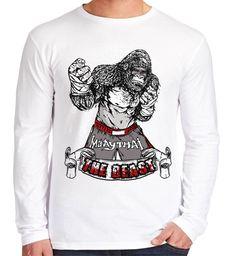 Velocitee Mens Long Sleeve T-Shirt The Beast Muay Thai Kickboxing MMA V117 #Velocitee
