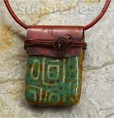 Porcelain and Copper Pendant Necklace by SunStones on Etsy, $30.00