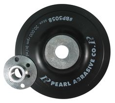 Pearl Abrasive offers both Smooth and Spiral-Faced back up pads for use with resin fiber discs. Smooth faced back up pad for use with Resin Fiber Discs on an angle grinder.