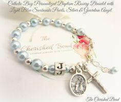 Catholic Boy Baptism Rosary Bracelet with by TheCherishedBead