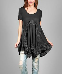Another great find on #zulily! Black & Gray Ruffle-Hem Scoop Neck Tunic - Plus #zulilyfinds