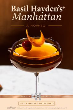 Have Basil Hayden's Kentucky Straight Bourbon Whiskey delivered to your door in under an hour! Bar Drinks, Cocktail Drinks, Yummy Drinks, Cocktail Recipes, Alcoholic Drinks, Beverages, Martini Recipes, Bourbon Cocktails, Classic Cocktails
