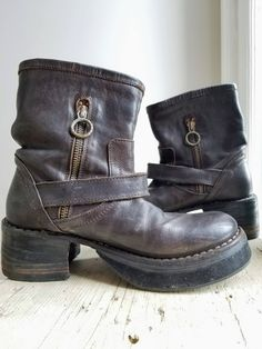 Dark Brown Baker Fiorentini Biker Boots/90's Grunge Chunky Boots/90's Platform Boots/Brown Italian Leather Boots/Ankle Boots/Size 6/35 EU by aLaRoad on Etsy