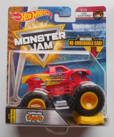 2018 Hot Wheels Monster Jam Carolina Crusher Truck w/ crush car Monster Jam, Monster Trucks, Hot Wheels, Diecast, Metal, Big, Autos