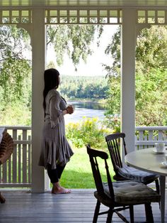 Imagine long summer breakfasts on that veranda. She Believed She Could, Interior Stylist, Anna, Stylists, Yard, Porches, Outdoors, Country, Breakfast