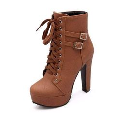 df16b7c2fa294c Daisy Dress For Less Ankle Boots Retro High Heel Lacing Round Toe Women  Ankle Boots Schwarz