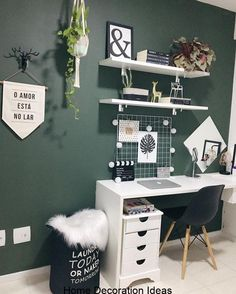 Beautiful Home Office Space! – Megan Roseanne Beautiful Home Office Space! Beautiful Home Office Space! Study Room Decor, Room Decor Bedroom, Bedroom Green, Modern Bedroom, Bedroom Office, Cozy Bedroom, Minimalist Bedroom, Bedroom Ideas, Cool Room Decor