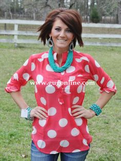 Giddy Up Glamour  $32.95  Never Too Minnie Coral Dot Top