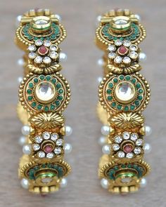 Pearls Kundan CZ Bollywood Jewelry Bangles Bracelets Ethnic Traditional