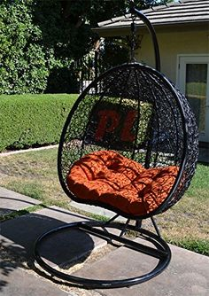Egg Nest Shaped Wicker Rattan Swing Chair Hanging Hammock 2 Persons Seater Black Orange * You can find out more details at the link of the image. Hanging Egg Chair, Hanging Hammock, Hammock Stand, Swinging Chair, Hampton Bay Patio Furniture, Metal Patio Furniture, Rattan, Wicker, Egg Nest