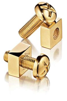 Gold standard. Verdura 18k yellow-gold Nuts  Bolts cuff links for the groom!