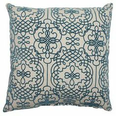 "Pillow with a fretwork motif.  Product: PillowConstruction Material: Cotton-polyester blend cover and recycled polyester fiber fillColor: BlueFeatures:  Knife edgeSewn seam closureInsert included Dimensions: 16.5"" x 16.5""Cleaning and Care: Spot clean only"