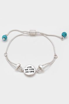Live The Life You Love Bracelet in Silver | Women's Clothes, Casual Dresses, Fashion Earrings & Accessories | Emma Stine Limited