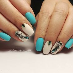 30+ Nail Art for Indian Bride A Trendy unapologetic Bridal Statement of 2019! Peacock Nail Designs, Peacock Nail Art, Feather Nail Art, Nail Art Designs, Nails Design, Turquoise Nail Designs, Cute Acrylic Nails, Gel Nails, Coffin Nails