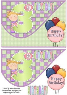 3rd Birthday Girl Tear Drop Card Front on Craftsuprint - Add To Basket!