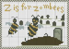 Freebie: Z is for Zombees from Cross-Stitch blog