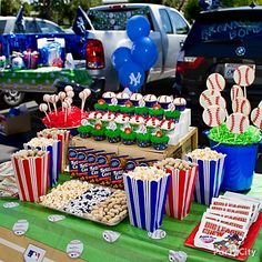 Make your party food a double play by serving baseball-themed treats and classic ballpark snacks. Start with containers in your team's colors filled with goodies that will satisfy everyone's sweet & salty tooth. Click the image above to get all the yummy details and how-to's!
