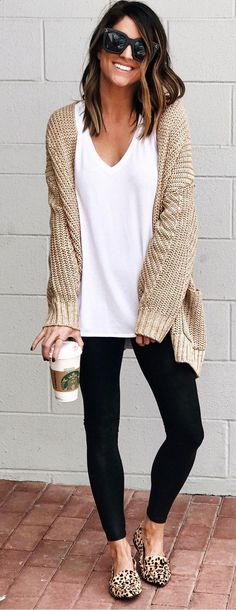 Tan cardigan outfit, cardigan fashion, black leggings outfit, women's l Tan Cardigan Outfit, Cardigan Fashion, Black Leggings Outfit Fall, Beige Cardigan, Comfy Legging Outfits, Long Sweater Outfits, Fall Fashion Leggings, Tribal Leggings, Printed Leggings