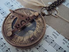 Lost at sea - Ox Brass compass sundial necklace