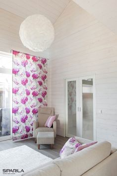 Decorate livingroom with great Siparila's interior panels and add some colors freshen up the look. Curtains, Shower, Living Room, Wood, Colors, Interior, Prints, Decor, Rain Shower Heads