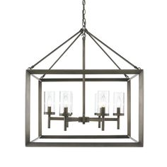 Features:  -Modern lanterns has a handsome bevelled cage design.  -Material: Glass and steel.  Chandelier Type: -Candle-Style chandelier.  Finish: -Gunmetal bronze.  Material: -Metal.  Number of Light
