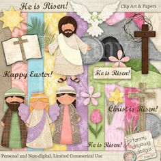 Christian easter treat bag toppers printable he is risen jesus easter clip art for kids easter digital papers religious christian easter for greeting cards negle Images