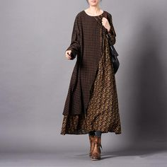Johnature Women Patchwork Dress Vintage Floral Robes 2019 Spring New Long Sleeve Dress Loose Fold Chinese Style Women Cloths Casual Dresses, Fashion Dresses, Maxi Dresses, Linen Dresses, Cotton Dresses, Short Beach Dresses, Dress Long, Long Sleeve Cotton Dress, Moda Casual
