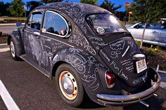 Volkswagon painted with chalkboard paint! Super Cool!