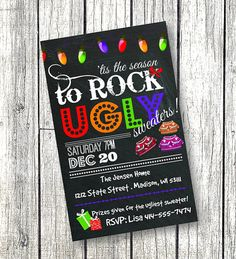 Ugly Sweater Invitation Holiday / Christmas party invite - Tis the season to rock ugly sweaters