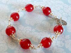 Cherry Red Bracelet Red Quartz Gemstones by MoonMajickStudio