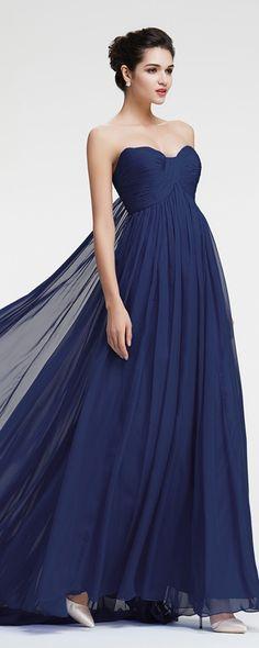 Navy blue prom dresses empire waist long prom dresses flowing prom dresses pageant dress formal dress for apple body shape pear body shape