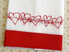 Redwork Hearts Hand Embroidery Tea Towel Kit Hand Dyed Floss   countrygarden - Patterns on ArtFire