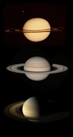 Three views of Saturn in August. From top to bottom: 1979 (Pioneer 11), 1981 (Voyager 2), 2009 (Cassini). http://1.usa.gov/1qNSfey