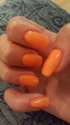 Neon orange pigment and glitter