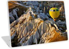 'Hot air balloon flight over Cappadocia' Laptop Skin by Hercules Milas Framed Art Prints, Canvas Prints, Balloon Flights, Vibrant Colors, Colorful, Cappadocia, Hot Air Balloon, Hercules, Laptop Skin