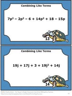 Algebra Combining Like Terms Task Cards and Quiz - This 28 page packet focuses on the algebra skill of combining like terms. You will receive two anchor cards, 40 task cards, a student response form plus key, and a final quiz plus key. Math 8, Maths Algebra, Math Tutor, 7th Grade Math, Math Class, Math Expressions, Algebraic Expressions, Numerical Expression, Combining Like Terms