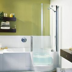 Walk in shower/bathtub combo. This is it. I thought I had made something up in my mind that didn't exist, but I found it. This is exactly what I need. Best of both worlds!