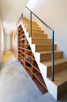 Staircase ideas - design and layout ideas to inspire your own staircase remodel, painted diy, decorating basement remodel pictures - Modern staircase ideas Staircase Storage, Stair Storage, Basement Ceiling Options, Basement Ideas, Ceiling Ideas, Open Basement, Basement Finishing Systems, Modern Staircase, Staircase Ideas