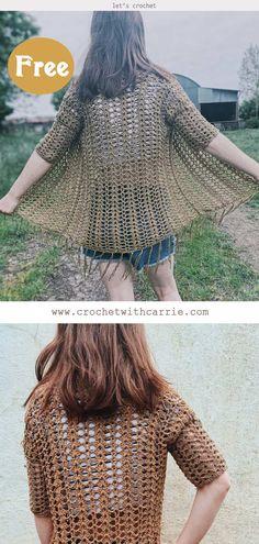 Crop Top Jacket, Crop Top Dress, Cotton Crochet, Crochet Cardigan, Crotchet, Crochet Clothes, Free Crochet, Free Pattern, Cardigans
