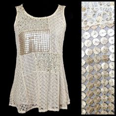 """D3 Metallic Sequin Lace Ivory & Gold Top Blouse ‼️PRICE FIRM‼️   Sequin Lace Top  Size Small  Retail $99  SPECTACULAR!!  I love this piece.  Perfect for year round wear.  A perfect mixture of metallic gold sequin & lace.  Will look gorgeous over a turtleneck in the winter or over a tank top in the summer. Shell: 100% polyamide. Lining: 100% cotton. There is some stretch to this top for a perfect & comfortable fit.   Armpit to armpit 32""""-36""""  Length of garment 25"""" in front & 29"""" in the back…"""
