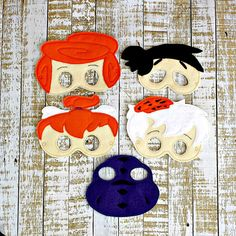 Flintstone inspired felt mask Caveman- - Party Favors- Dress up, Theater, Face mask, Pretend play, Birthday party, Party Favor